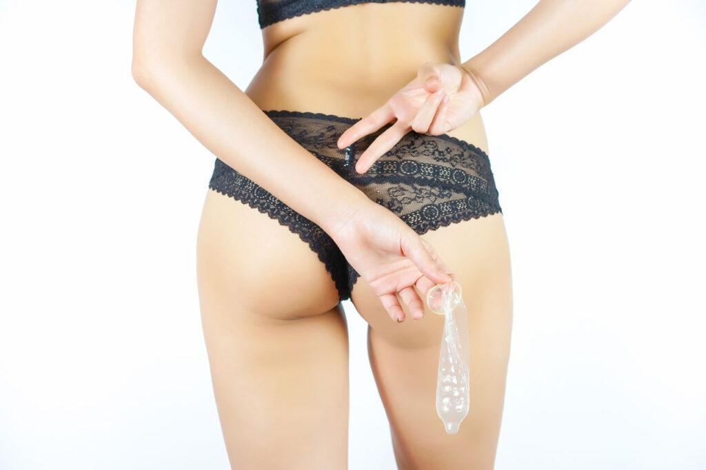 brazilian waxed lady with condom